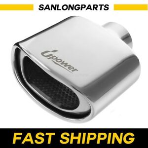 Sus304 Exhaust Tip Dual Wall Oval Resonated 2 25 Inlet 3 X 5 75 7