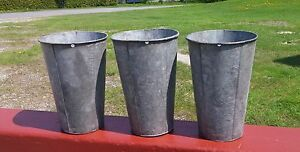 3 Nice Old Galvanized Sap Buckets Tapered Maple Syrup L K