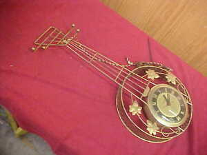 Mid Century United Electric Banjo Wall Clock Working 23x10 Inches