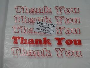 1000 Qty Thank You T shirt Bags Plastic 11 5 X 6 X 21 Retail Shopping