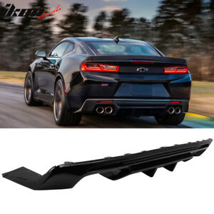 Fits 16 20 Chevy Camaro Rear Bumper Lip Diffuser Quad Exhaust Glossy Black