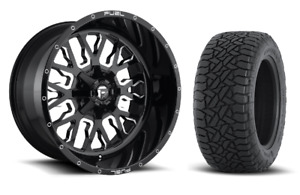 20 20x10 D611 Stroke Black Wheels 35 Fuel At Tire Package 8x180 New Gmc Chevy
