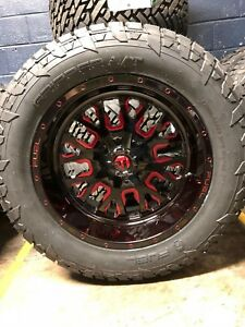20 20x10 D612 Stroke Red Wheels 33 Fuel At Tire Package 6x135 Ford F150 6lug