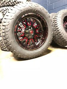20 20x10 D612 Stroke Red Wheels 33 Fuel At Tire Package 8x6 5 Dodge Ram 8lug