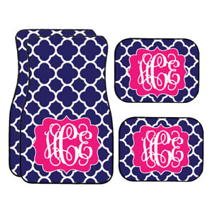Personalized Navy And White Quatrefoil Car Mats