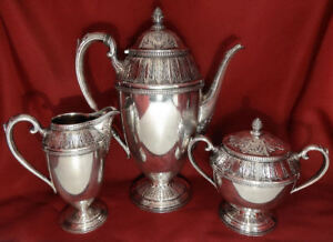 International 1847 Rogers Marquise Silver Plated Coffee Pot Sugar Creamer Set
