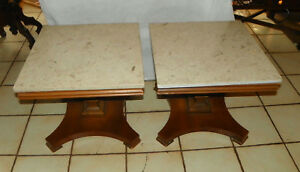 Pair Mid Century Mahogany Marble Top Pier Tables End Tables By Lane Rp T688