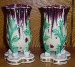 Pair Of Antique Hand Painted Old Paris Porcelain Vases 4 5 8