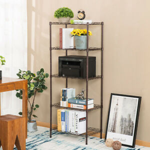 Adjustable 5 Tiers Steel Wire Corner Shelf Storage Rack Cart W wheels Heavy Duty