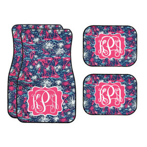 Personalized Sails And Fireworks Car Mat Navy Pink Pattern Car Mat