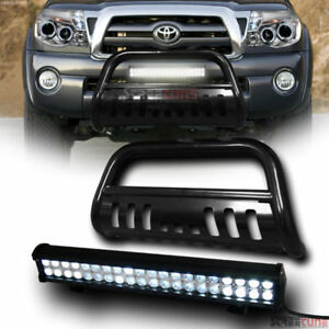 Blk Bull Bar Bumper Grille Guard 120w Cree Led Fog Lamp For 05 15 Toyota Tacoma
