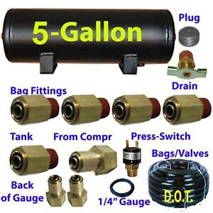 Xfitx 5 Gallon Air Tank With Fittings Kit Pressure Switch 1 4 3 8 Airhose