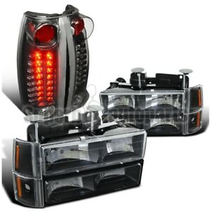 1994 1998 Gmc Sierra Black Clear Headlights Bumper Lights led Tail Lights amber