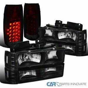 94 98 Sierra Black Clear Headlights bumper Corner Lamps red Tint Led Tail Lamps