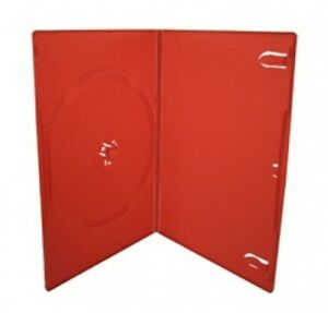 100 Slim Solid Red Color Single Dvd Cases 7mm