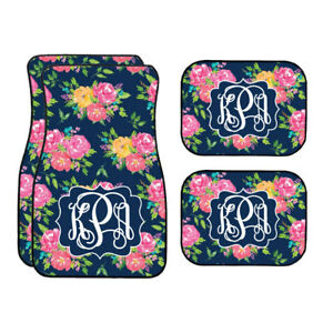 Personalized Navy Floral Watercolors Car Mats