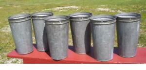 4 Old Galvanized Maple Syrup Sap Buckets Tapered W Double Rim