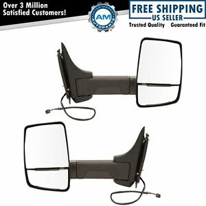 Towing Mirror Power Textured Black Pair Set For Gm Cutaway Van Box Truck New