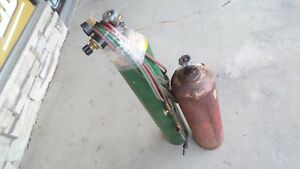 Used Empty Acetylene And Oxygen Welding Tanks With Torch Regulator 108696 1 2