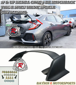 Type R Style Rear Trunk Spoiler Wing Abs Fits 17 20 Civic 5dr Hatchback