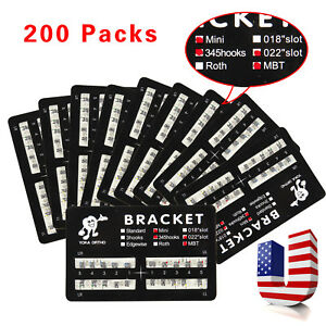200pack Dental Orthodontic Brackets Braces Mini Mbt Slot 022 345 Hooks Metal y1g
