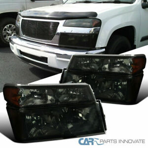 For 04 12 Chevy Colorado Gmc Canyon Smoke Headlights tinted Corner Turn Lamps