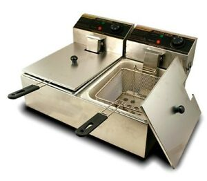 New Mtn 5000w Commercial Countertop Table Electric Double Tank Deep Fryer