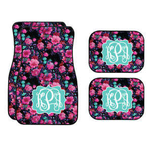 Personalized Black And Pink Floral Car Mats