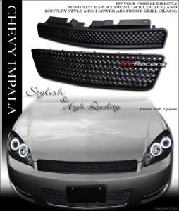 For 2006 2016 Chevy Impala limited Blk Mesh Front Upper Hood lower Bumper Grille