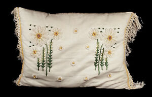 Charming Vintage Embroidered Embroidery Daisy Flowers Pillow Cotton Linen Fringe