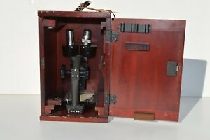Nice Vintage 1930s Bausch Lomb Stereo Microscope Tb4092 Original Wood Case