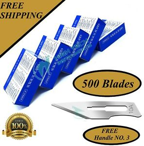 Lot Of 500 Pcs Sterile Surgical Blades 10a With 1 Free Scalpel Knife Handle 3