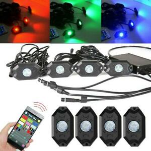 4pc Rgb Led Multi Color Offroad Rock Lights Wireless Bluetooth Truck For Jeep