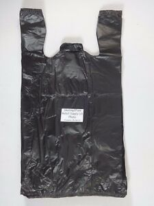 500 Qty Plastic T shirt Shopping Bags 1 6 Black With Handles 11 5 X 6 5 X 22
