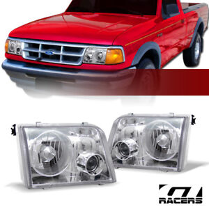 For 1993 1997 Ford Ranger Crystal Chrome Housing Projector Headlights Lamps Dy