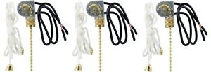3 Pack Of Pull Chain On off Canopy Switches 3 8 inch Gold Bushing Wire Leads