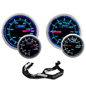 Prosport 52mm Universal Blue White Gauge Kit Set Turbo Boost Oil Pressure