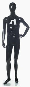 New 5 Ft 11 In Small Size Male Abstract Head Mannequin Glossy Black Sfm73e hb