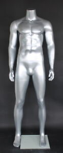 5 Ft 9 In H Male Headless Mannequin muscular Body Shape Matte Silver Stm051stnew