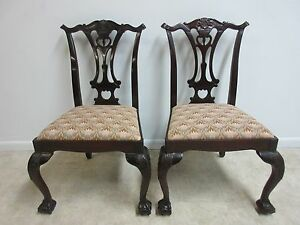 Pair Hickory Chair Company Mahogany Ball Claw Chippendale Dining Side Chair B