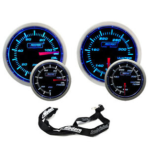 Prosport 52mm Universal Blue White Gauge Kit Oil Pressure Water Temperature