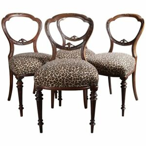Four Antique French Louis Xvi Carved Walnut Balloon Back Upholstered Side Chairs