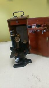 Antique Bausch Lomb Microscope With Wooden Case