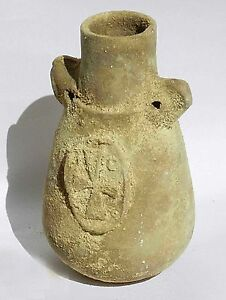 Biblical Ancient Terracotta Jar Holy Land Roman Pottery Jug Clay Christian Cross