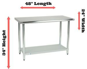 Stainless Steel Prep Work Table Station 24 X 48 Commercial Kitchen Undershelf