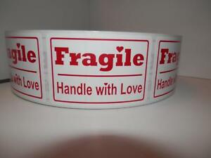 Fragile Handle With Love 2x3 Red Text White Bkgd Warning Sticker Label 250 rl