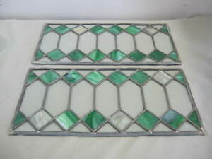 2 Art Deco Victorian Leaded Diamond Pane Stained Stain Glass Panels Green White