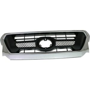 Grille For 2012 2015 Toyota Tacoma Chrome Shell W Gray Insert Plastic