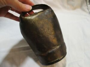 Antique Metal Cow Bell 5 3 4 X 4 1 2 With Original Clapper