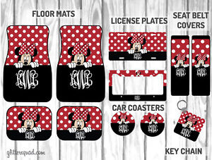 Personalized Disney Car Mat Gift Set Black Red Peeking Minnie Mouse Car Mat